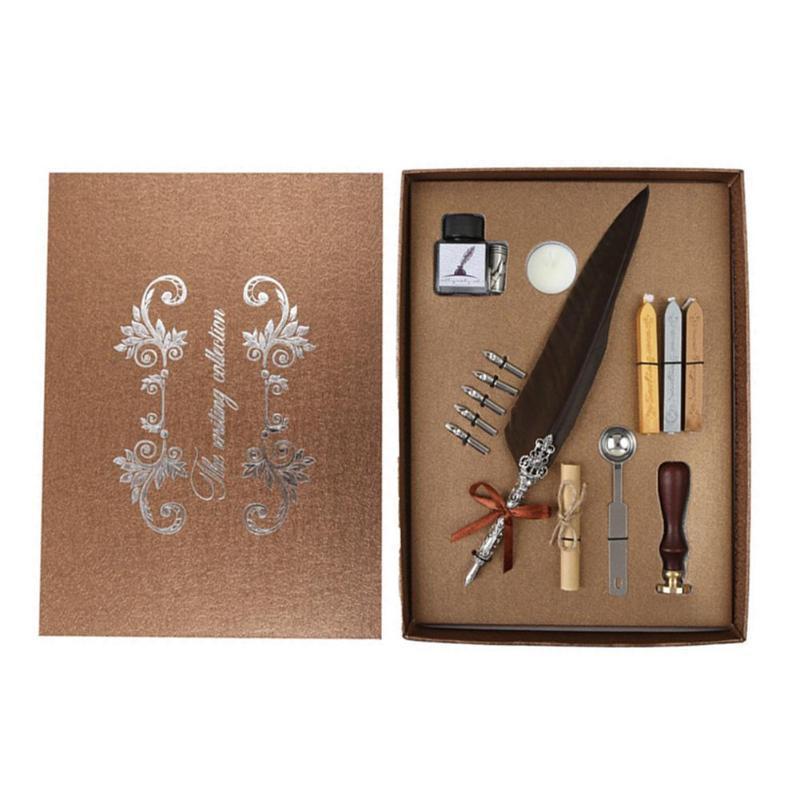 Tüy Kalem Yazma Mürekkep mürekkep şişesi ile Set + 5 adet nips + kraft mektup kağıdı + Ealing Balmumu Damga 3 adet Sızdırmazlık Balmumu + Sızdırmazlık Kaşık