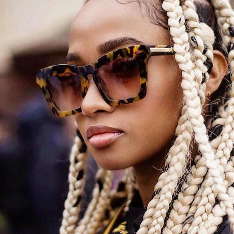 المتضخم ساحة السهم نظارات ريترو المرأة ليوبارد العنبر الأصلي نظارات شمسية للنساء العلامة التجارية العصرية مكبرة Oculos UV400