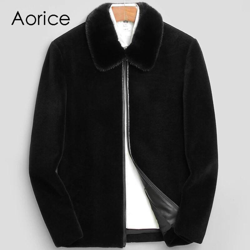 Aorice MT808 2019 Invierno Abrigo de cuero genuino Hombres Abrigo de cuero grueso Cuello de piel Chaqueta para hombre Corto Negro jaqueta couro