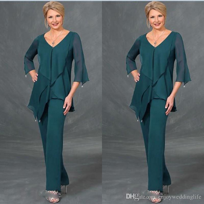 Vert foncé en mousseline de soie mère de la mariée Costumes Pantalons col V à manches longues Taille Plus mères longueur de plancher Costumes Robe formelle Robes de soirée