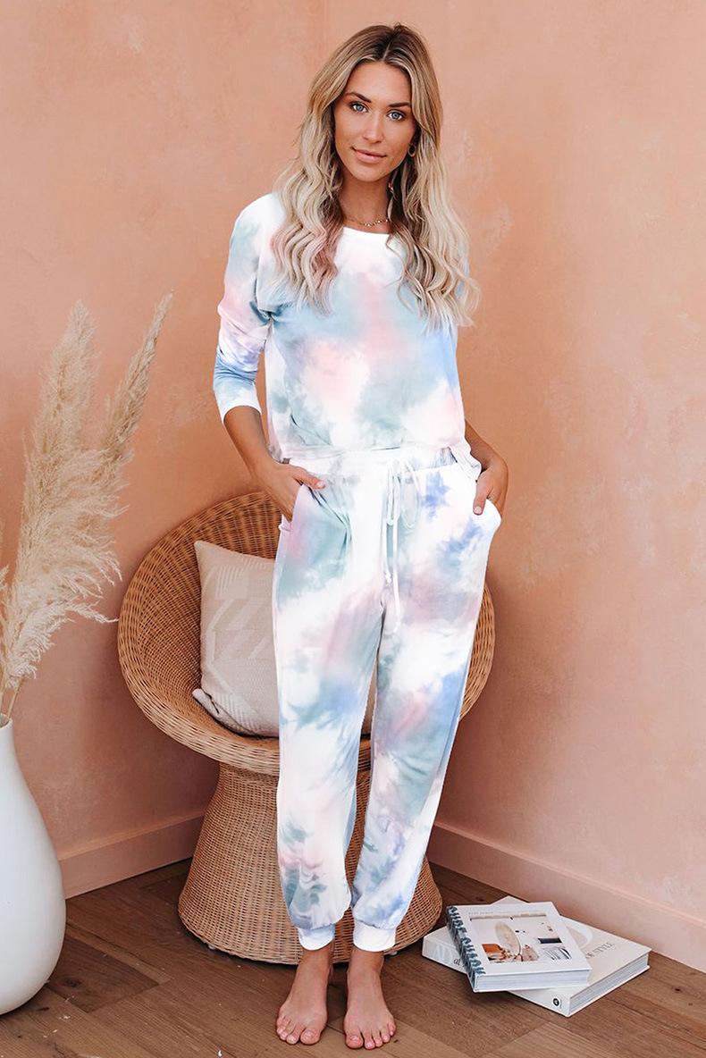 De alta calidad para pijamas Tiedye para niñas pijama Korte Establece Met Ronde Hals En anudado teñido anudado de 100 algodón lavado Armada garden2010 msAbH