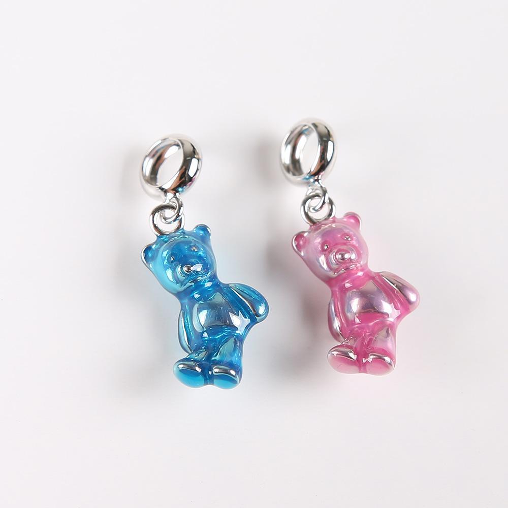 HANZHIXIU 925 стерлингового серебра родием синий медведь Diy подвески, пригодный для браслет и ожерелье завод