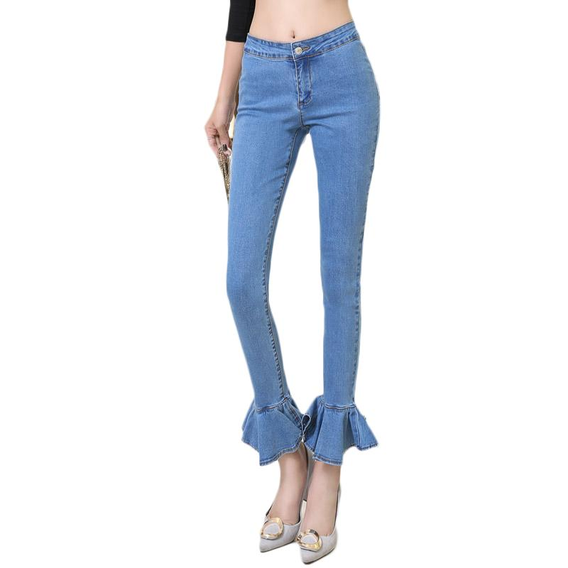 new arrived autumn winter jeans woman Slim Fashion Casual denim pants Lotus leaf leg opening Low waist all-matching trousers