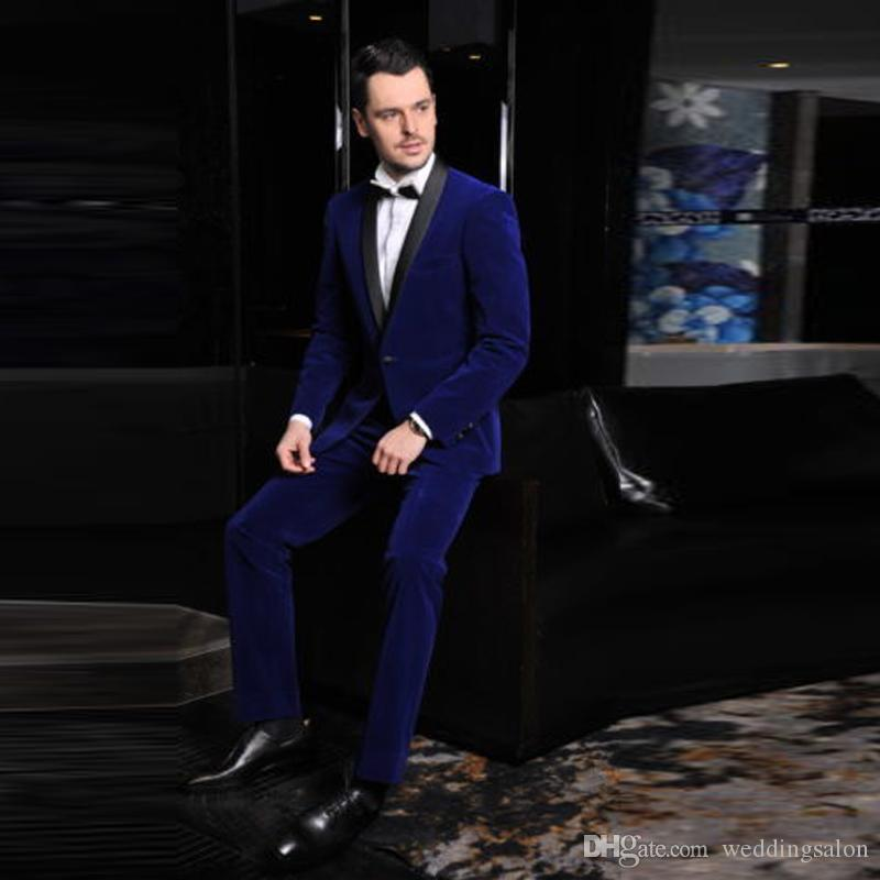 Hot Sale Royal Blue Two Pieces Men's Suits Black Shawl Lapel One Button Winter Groom Wear Slim Fit Men's Business Tuxedos