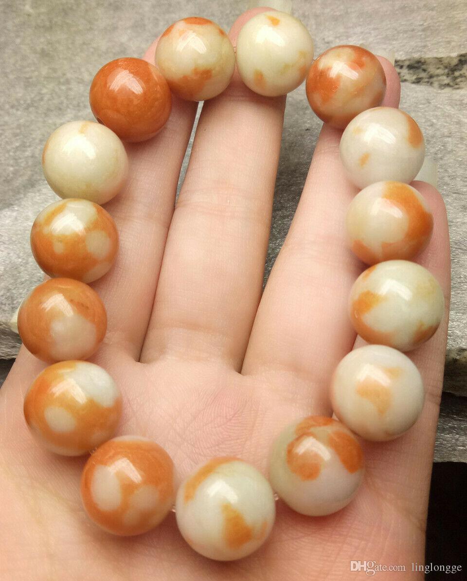 Сертифицированный оранжевый, белый, натуральный A, нефрит, 13 мм бусин, эластичная рука.