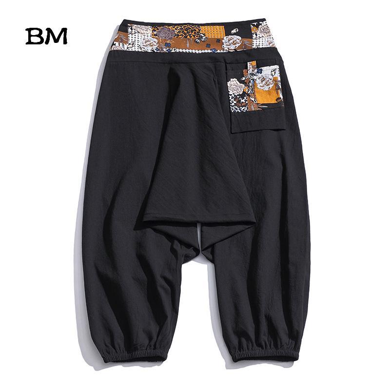 Plus Size 5XL Vita elastica 4XL Pantaloni a metà gamba Estate Crop Pants Hippie tipo sciolto rigonfi Uomini Cotone Pantaloni con cavallo basso XXXXXL V200411