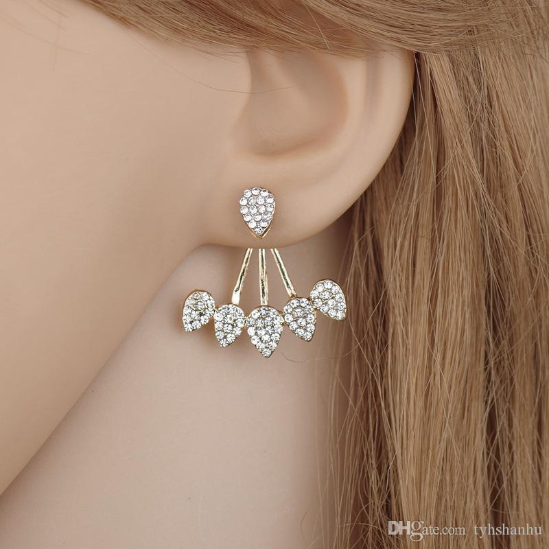 Jóias Coreano novas jóias de cristal Frente Verso dupla face brincos para mulheres Moda Ear Piercing brinco E1272