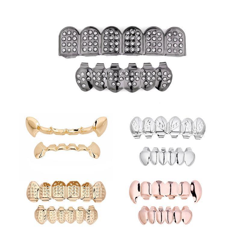 lindo diente de metal de cobre Parrillas de cristal del color oro dental Grillz Top Hiphop inferior Dientes Caps joyería del cuerpo Dientes Grillz elegante Moda