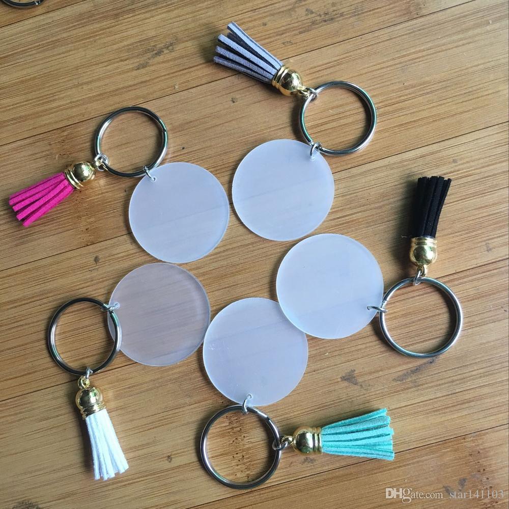3 cm ile 4 cm Boş Disk Süet Püskül Vinil Anahtarlık Düşük Çok Renkli Mevcut Altın Gümüş Monogrammed Şeffaf Akrilik Disk Püskül Anahtarlık