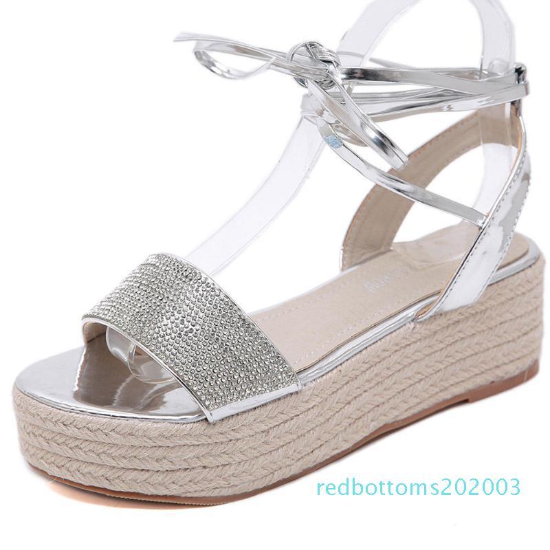 Sarairis 2020 nuevo diseño de la plataforma de las mujeres sandalias de cuñas Cristal Bombas ocasional del verano r03 Mujer Sandalias