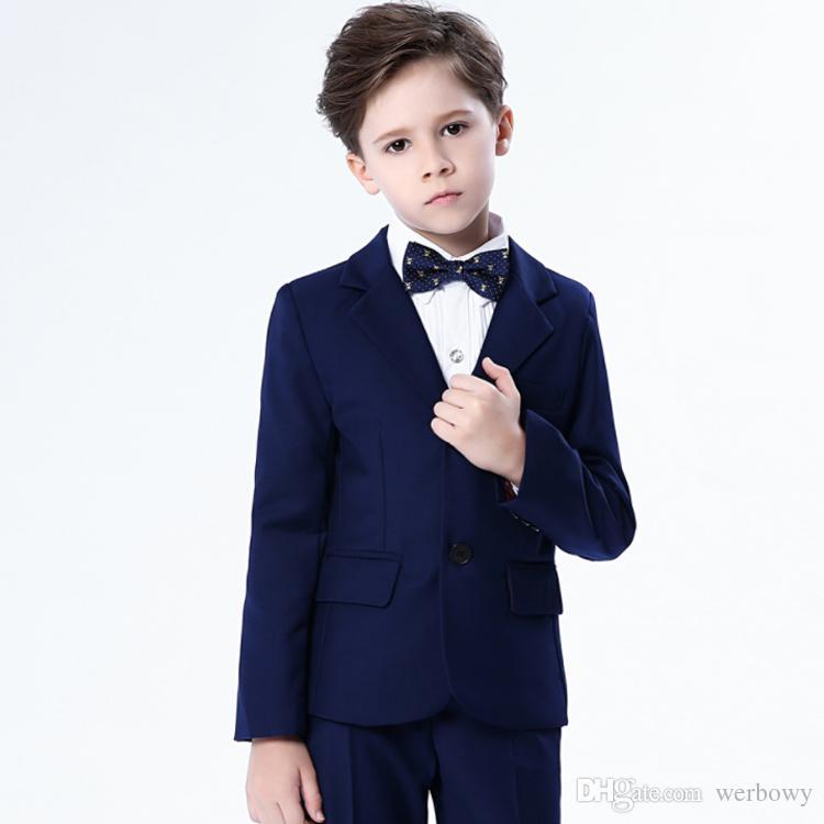 2020 Fashion 4Pcs Children Kids Boys Show Colorful Formal Suits Coat+Pants+Bow Tie+Shirt Suit Set Long Sleeve Children Clothing