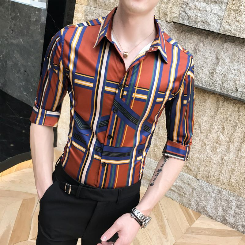 Silk Shirts 2019 Summer Men's Slim Fit Casual Shirts Club Outfits Mens Dress Office Plaid Printed Mens Vintage Camicia