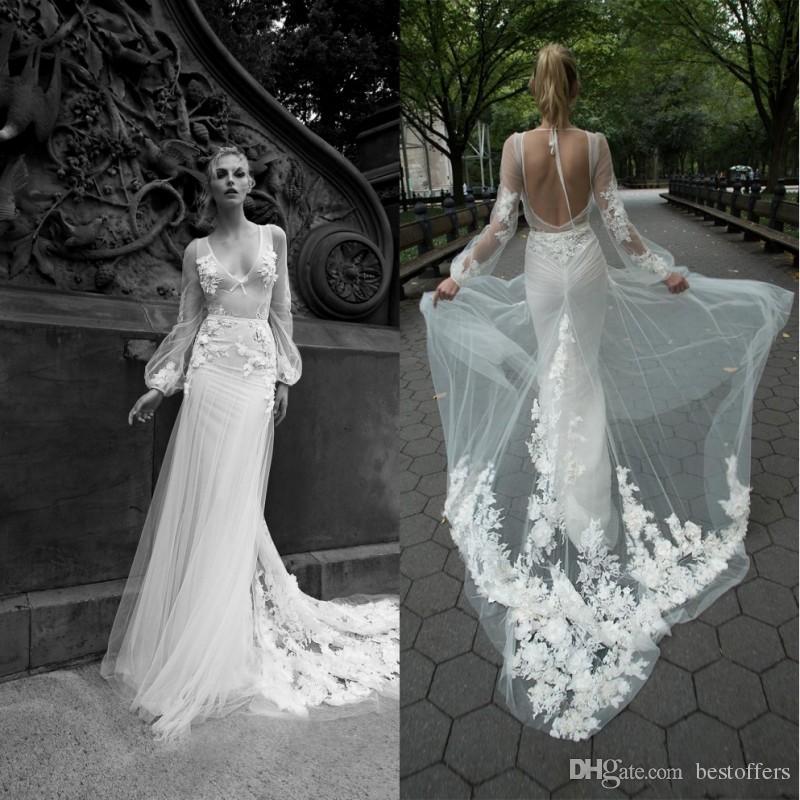 2020 رائع عنبال dror فساتين الزفاف حورية البحر الخامس الرقبة يزين الوهم عارية الذراعين أثواب الزفاف الاجتياح قطار فستان الزفاف مخصص
