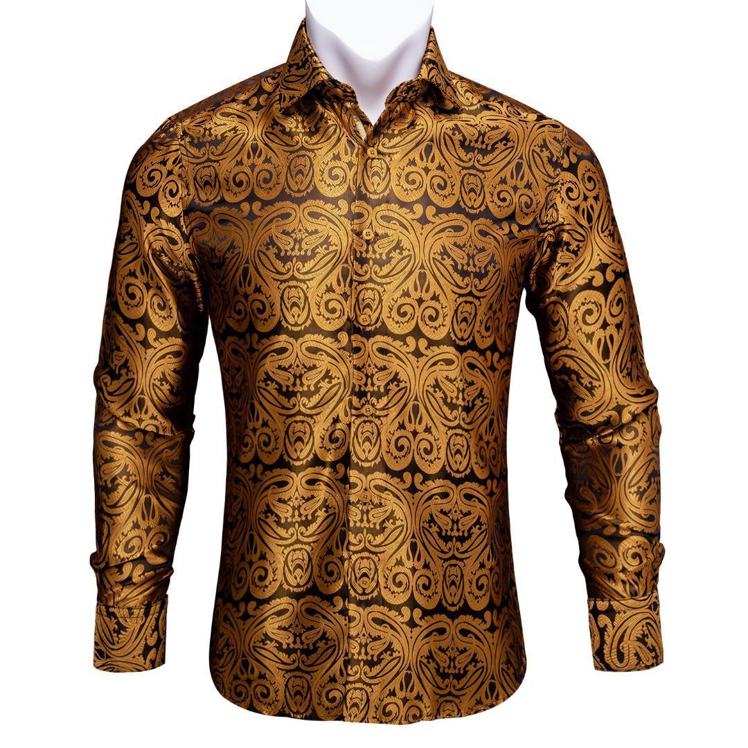 Erkekler Tasarımcı Fit Elbise BCY-03 için Barry.Wang Altın Paisley Parlak İpek Gömlek Erkekler Sonbahar Uzun Kollu Casual Çiçek Gömlek