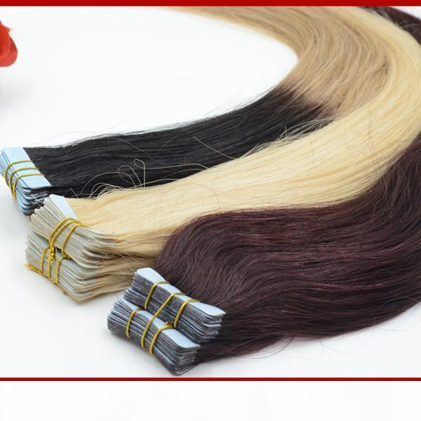 """Saç Uzantıları yılında XCSUNNY 18 """"20"""" Brezilyalı Virgin Bant İnsan Saç Uzatma 100g PU Cilt Atkı Saç Uzantıları Düz Bant"""