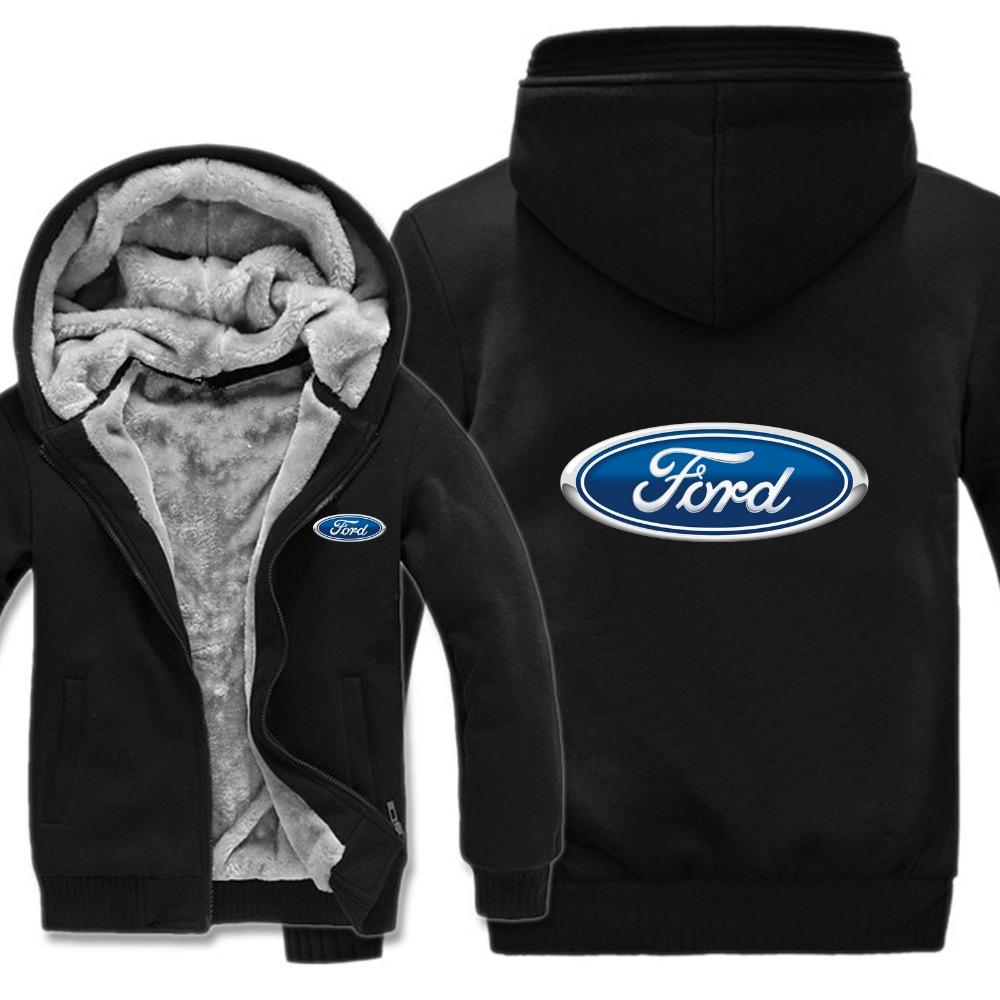 Winter Ford Hoodies Warm Men Fashion Wool Liner Jacket Ford Logo Sudaderas Hombres Abrigo