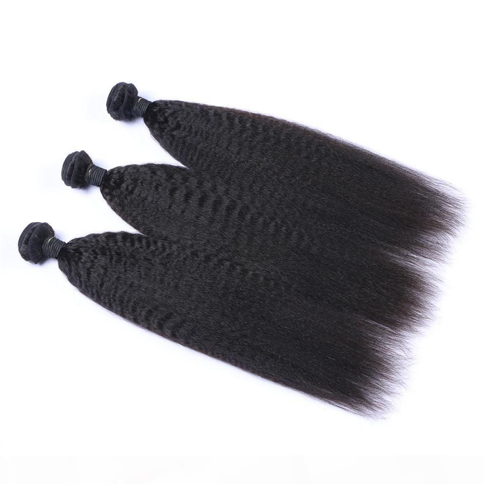 Rohboden indische menschliche Remy Jungfrau-Haar verworrene gerade Haar Weaves Haar-Verlängerungen natürliche Farbe 100g bündelt Doppel Tressen 3Bundles lot