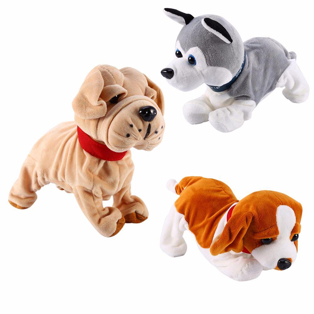 소리 제어 전자 개 대화 형 전자 애완 동물 로봇 개 나무 껍질 스탠드 도보 전자 장난감 강아지 아기 선물 J190517