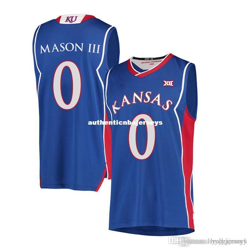 Estão # 0 Frank MASON III Kansas Jayhawks KU homens Basketball Jersey Bordado costurado Personalizar qualquer nome e nomear XS-6XL colete Jerseys