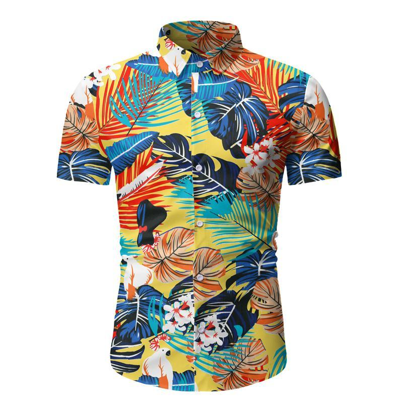 Vintage Ethnic Style Men Shirt Printing Loose Cotton Short Sleeve Stand Collar Breathable Tops Hawaiian Shirts 2020 New