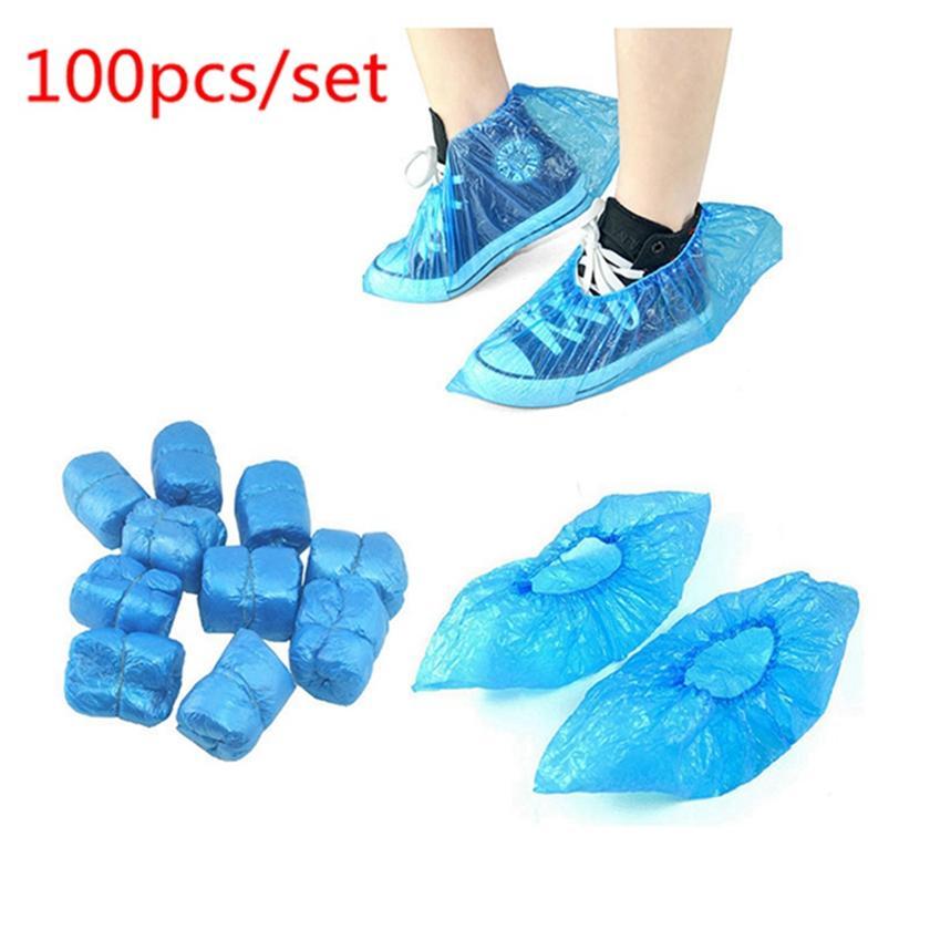 100pcs / set Cubierta de zapatos desechables impermeable antideslizante lluvia Día del hogar protector protector del piso Azul Rosa de limpieza de zapatos cubierta HHA1284