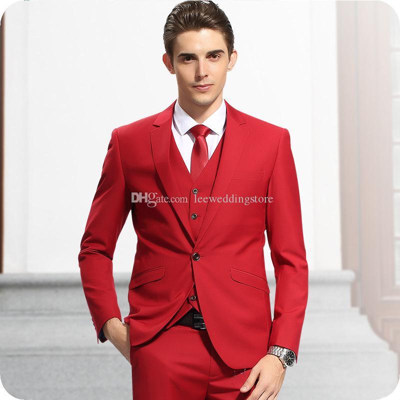Red Men Suits For Wedding Suits Evening Dress Bridegroom Groom Custom Made Slim Fit Formal Tuxedos Best Man Blazer Prom Jacket+Pants+Vest