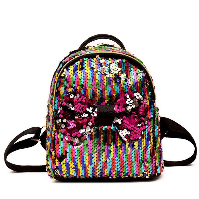 Mulheres Casuais Lantejoulas Bow Tie Mochilas Adolescentes Meninas Sacos de Grande Capacidade de Viagem Parte Mini Sacos De Escola Bolsa de Ombro para a Senhora