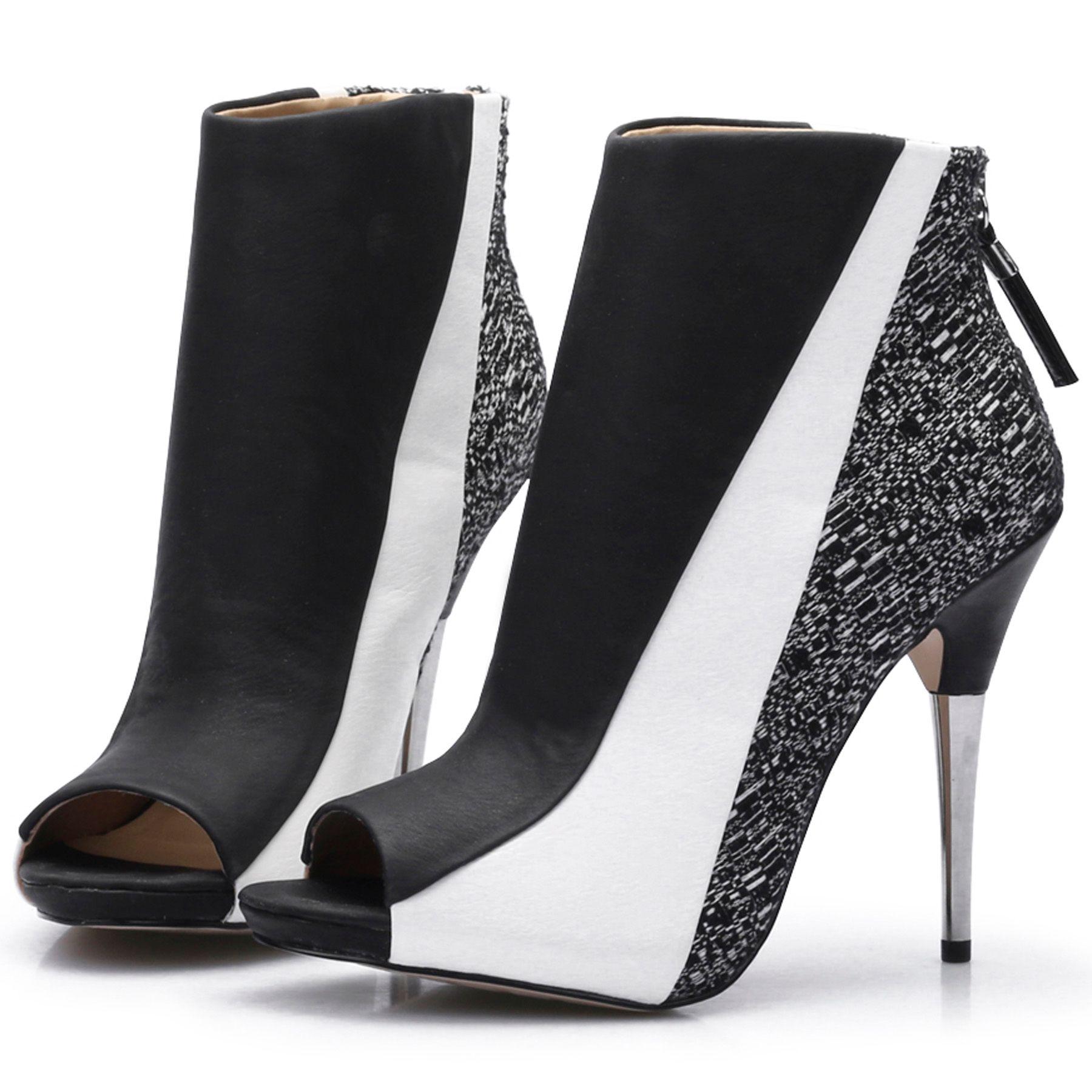 Stivaletti patchwork in pelle nera e bianca Donna Stivaletti spuntati tacchi alti in metallo Stivaletti zeppa Mujer Zapatos