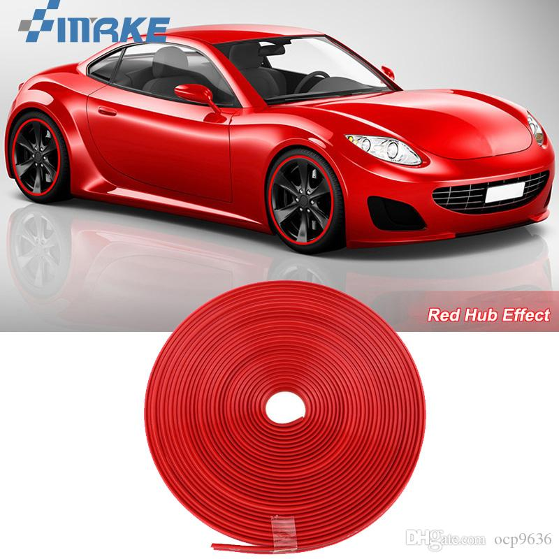 8 m cubo de roda do carro borda aro protetor anel pneu tira guarda adesivos de borracha em carros red car styling