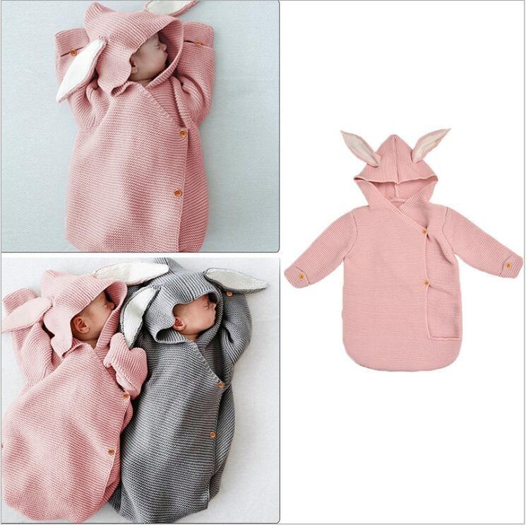 -Nascidos orelha de coelho Sacos de Dormir bebê Sólidos malha Wraps infantil Anti-kick swaddles Botão inverno Quilt cama Nightgowns Nightgowns D6985