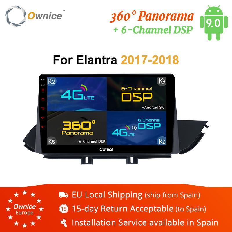 10.1 인치 Ownice K1K2K5K6 안드로이드 9.0 자동차 미디어 플레이어 스테레오 교체 위해 Elantra2017 2018 4G DSP360 파노라마 자동차 dvd