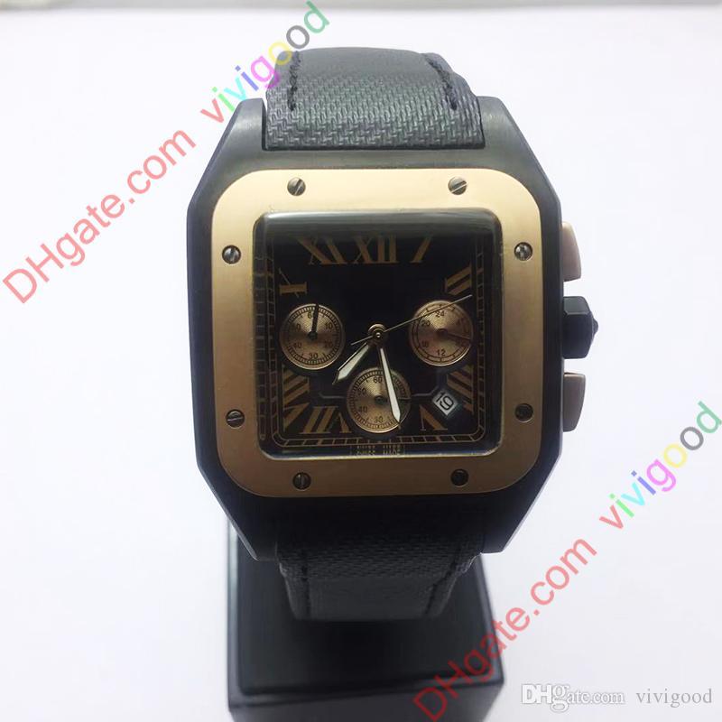 NEW مربع أسود مع رجل وردة الذهب الساعات الكوارتز كيه 100 XL MONTRE دي لوكس مزين حزام من الجلد ذات جودة عالية ووتش المعصم 40MM
