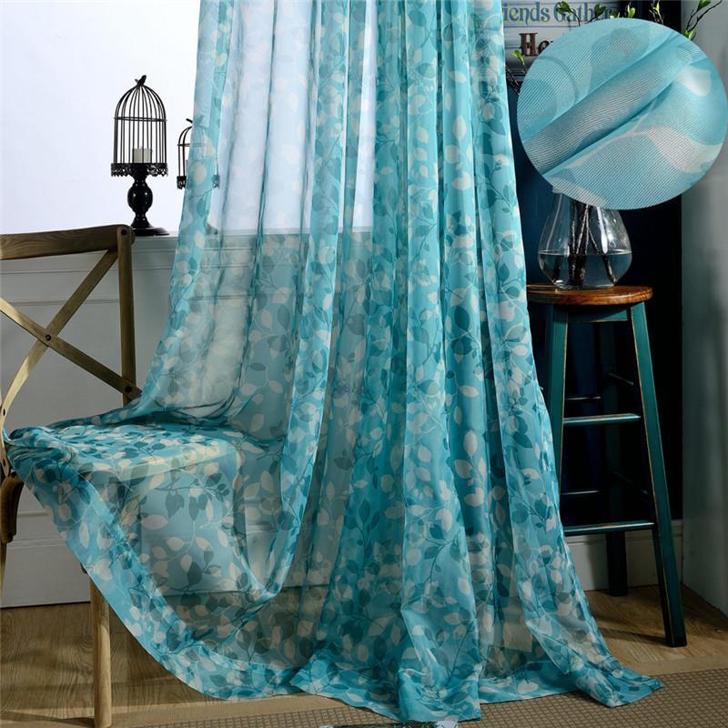2021 Modern Blue Sheer Curtains Fabrics, Sheer Patterned Curtains Nz