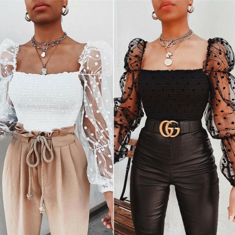 نساء ساحة الياقة بلوزة 2020 وصول جديد أنثى الصيف النفخة الكشكشة كم طويل قميص أبيض أسود قمم عارضة Ruched وبلوزة