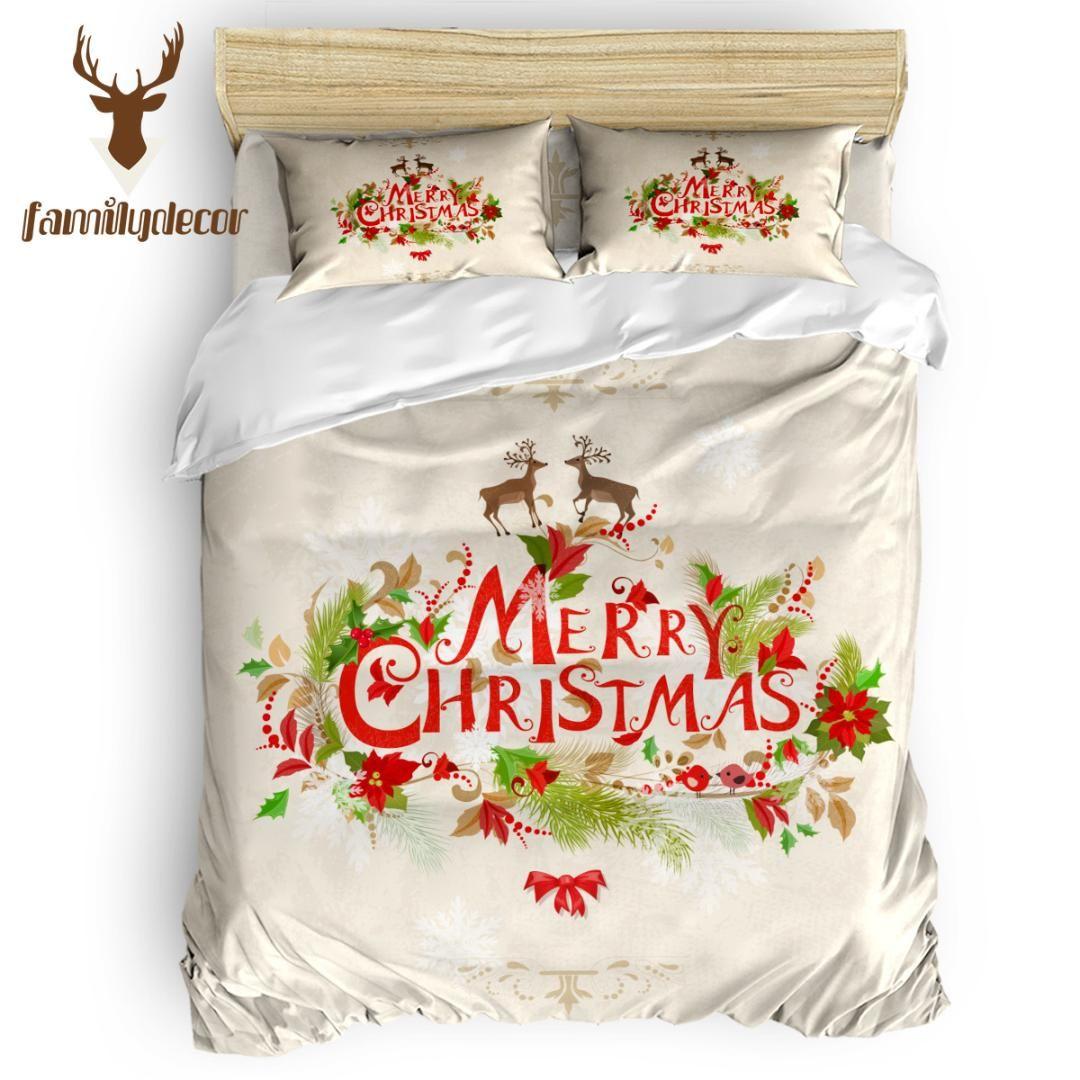 Aile Dekor Noel Geyik 4 Parça Yatak Takımları 4 Adet Yatak Takımları Yorgan Set yabancının Günü Polyester Kumaş Anıt