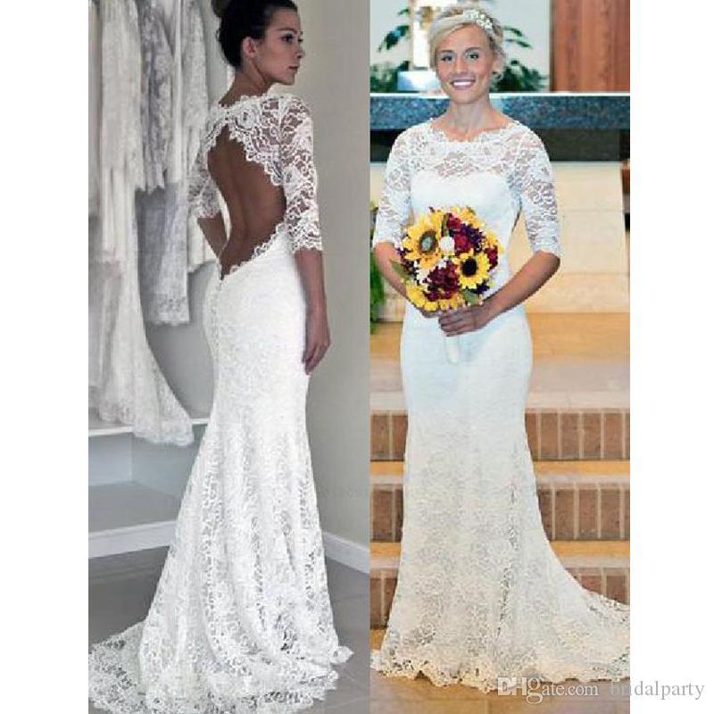 La mitad de la manga blanca del cordón de la sirena de la boda vestido Backless atractivo más el tamaño de vestidos de boda del traje del vestido de novia de soirée