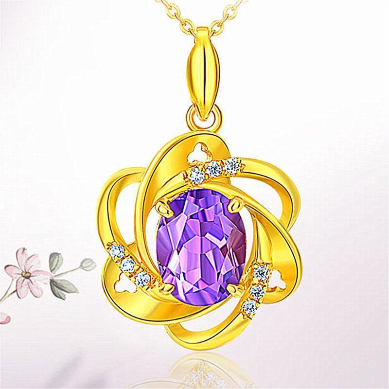 أزياء زهرة الكريستال الأرجواني القلائد قلادة الأحجار الكريمة الجمشت الماس النساء 14K لون الذهب قلادة هدية حزب المجوهرات بيجو