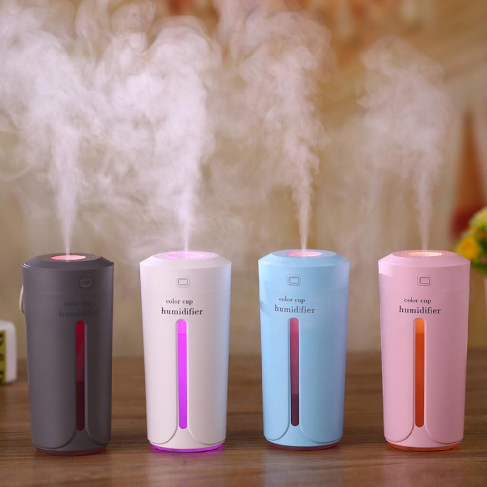 Mini sincronismo USB umidificador de ar difusor de Aromatherapy Maker Mist Nightlight purificador de ar Umidificadores para Home Car Escritório