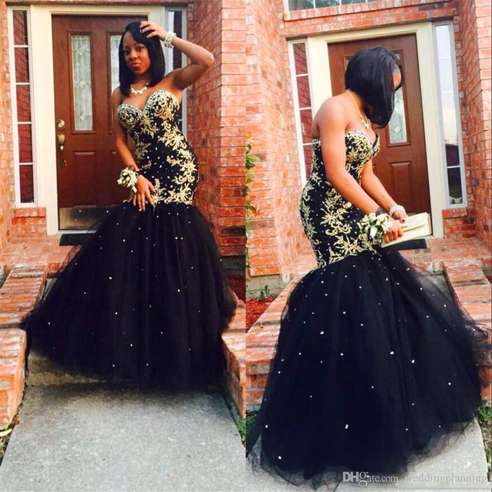 Abiti da sposa 2019 Abiti da ballo unici Appliques nero e oro con perline di cristallo Abiti da sera convenzionali Abiti da cerimonia per feste sexy della sirena