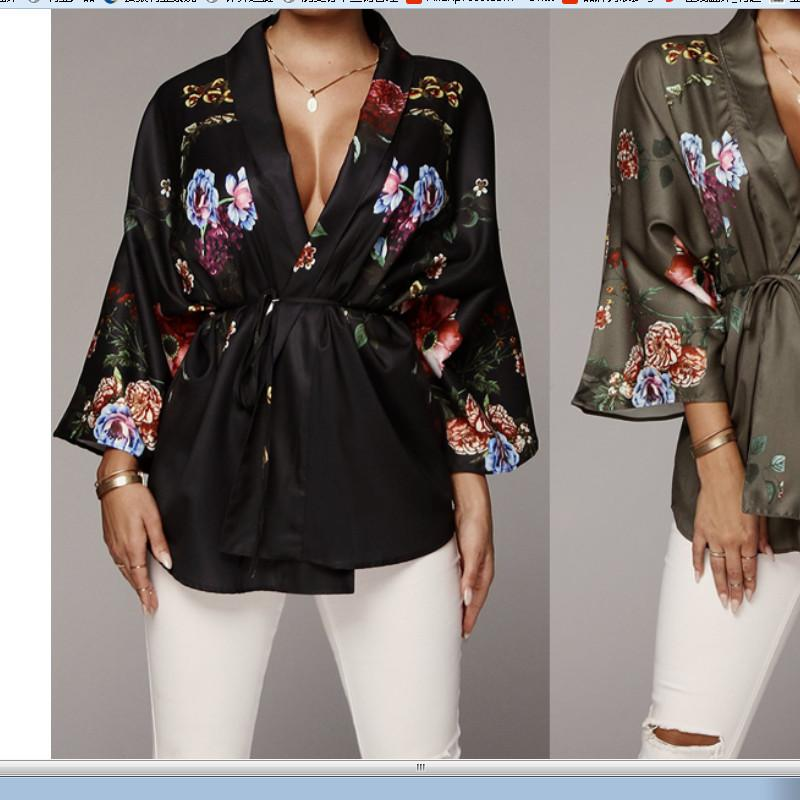 Womens Stain V Neck Tops Casual Seven Sleeve Shirt Summer Loose Blouse