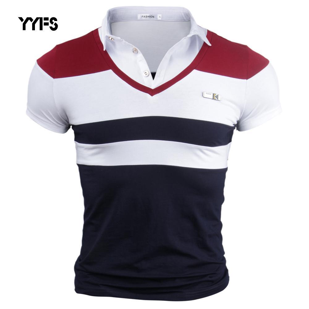 Yyfs Marca Hombre Algodón Cuello vuelto abajo Camiseta Hombre de Verano Camisetas Manga Corta Tops Patchwork Camiseta Casual Hombres Sólido 4xl Y19060601