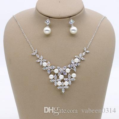 Simple bride pearl zircon set chain / flower shape wedding jewelry / banquet dress with accessories / into the store to choose more styles
