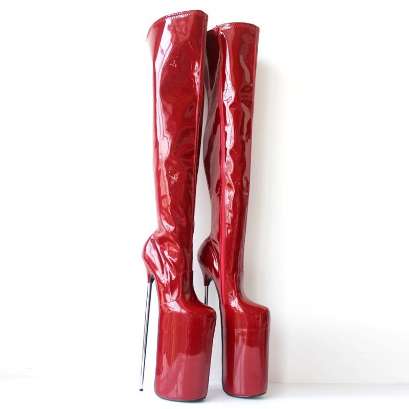 Avrupa Kadınlar Gece Kulübü Uyluk Boots 30CM Extreme Metal Stiletto topuk 20cm Platformu Yan Yüksek Boots sofita göster Man Cosplay Ayakkabı Kırmızı Zip