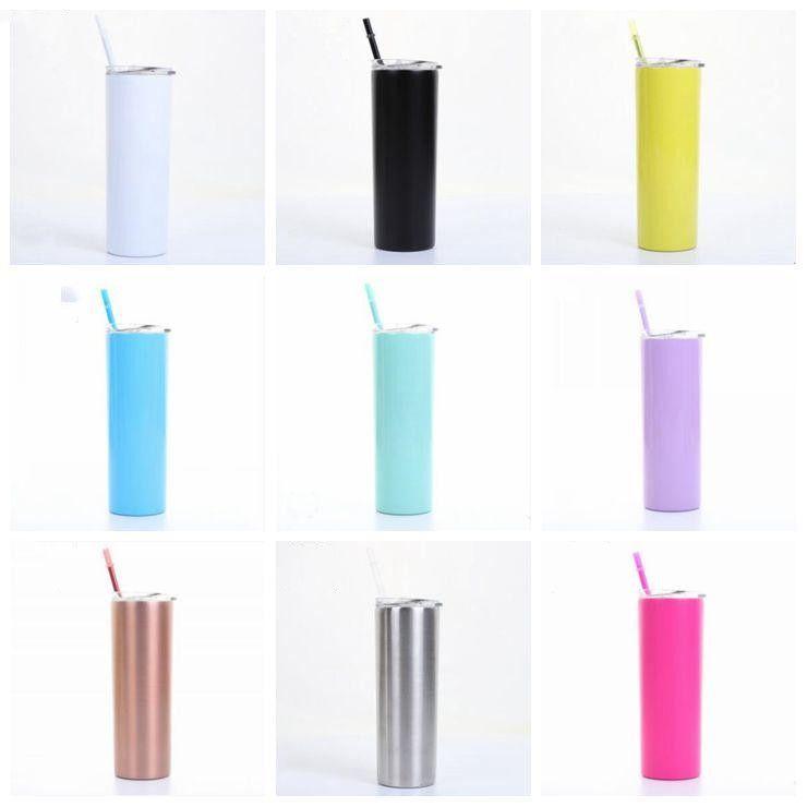 Copas flacos flaco taza de café Vaso con tapas de colores de vacío pajas aislado Vasos delgado recto YW3643-1Q taza de la botella de cerveza Agua