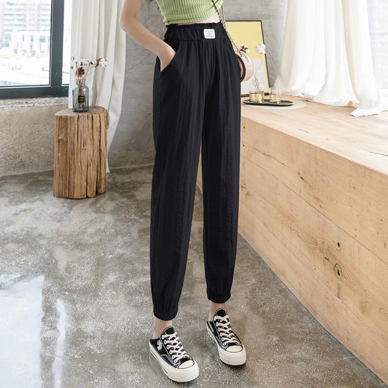 Femmes 2020 Dressises été nouvelle mode coréenne Ice Soie Coton Lin Pieds Pantalons poutre sarouel Pantacourt en vrac Pantalons simple femmes