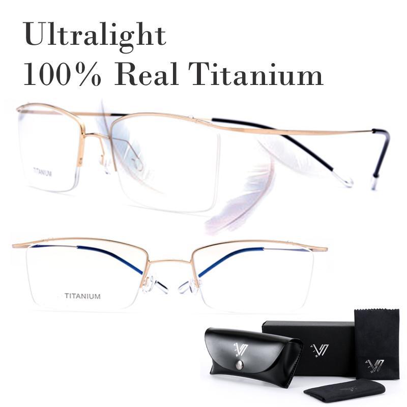 ريال مدريد 100٪ التيتانيوم لا برغي الخفيفة وصفة النظارات الإطار النساء الرجال نظارات قصر النظر بصري نظارات Oculos دي غراو GAFA جديد