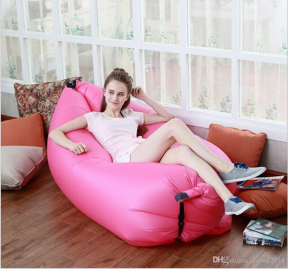 alta qualidade infláveis 2019 Hot venda rápida sofá inflável preguiçoso saco de dormir Sacos portáteis camping Banana Sofá Beach Bed Air Hammock Nylon