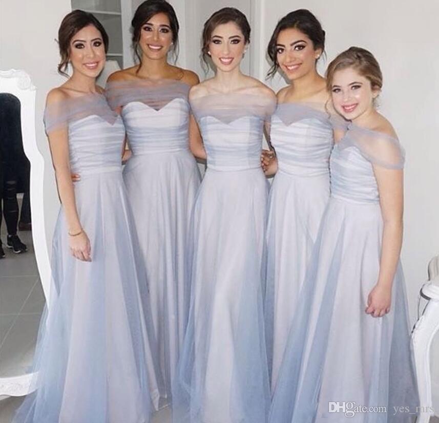 2019 Nouvelle Arrivée Robes de demoiselle d'honneur bleu clair pour mariage une ligne d'épaule de plancher de plancher de plancher de plancher Tulle plus taille