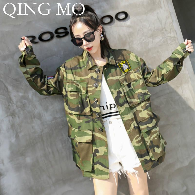 QING MO Women Camouflage Print Coat 2019 Autumn Women Safari Style Windbreaker Coat Single Breasted Wide-waisted ZQY1412