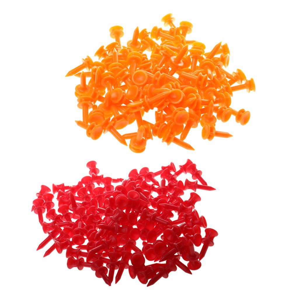 200 Pcs / Paquet professionnel 32mm / 25mm Plastic Castle Golf Tees Rouge Orange